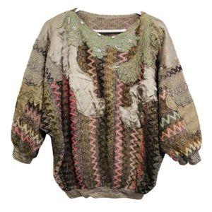Vtg 80s Patchwork Beaded Chenille Dolman Sweater L